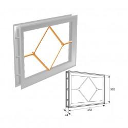 """Окно акриловое 452х302 белое с раскладкой ромб для панелей со структурой """"филенка""""(DH85629)"""
