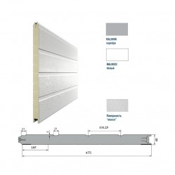 Панель 475мм Ндерево Доска/Нстукко Серебристый(RAL9006)/Белый(RAL9003)